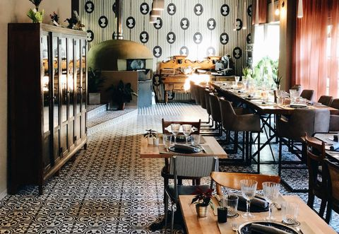Room, Restaurant, Interior design, Property, Building, Table, Furniture, Floor, Dining room, Architecture,