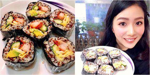 Dish, Gimbap, Food, Cuisine, Sushi, California roll, Ingredient, Comfort food, Nori, Japanese cuisine,