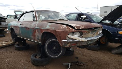 1965 chevrolet corvair monza in colorado junkyard