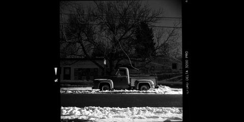 1953 ford f100 photographed with ricohflex vii camera