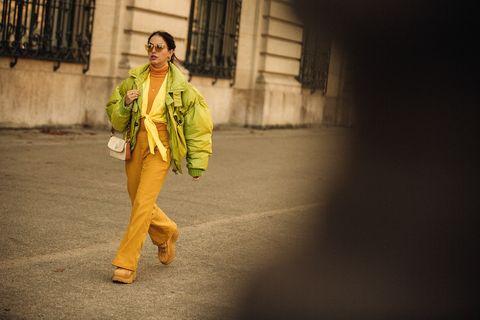 Yellow, Fashion, Outerwear, Photography, Performance art, Street fashion, Street,