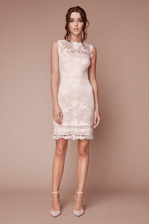short wedding dress - Clothing, Dress, Fashion model, Cocktail dress, Shoulder, Neck, Day dress, Fashion, Bridal party dress, Waist,