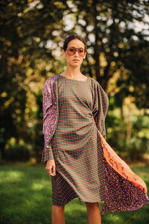 Clothing, Fashion model, Fashion, Dress, Beauty, Yellow, Day dress, Spring, Street fashion, Pattern,