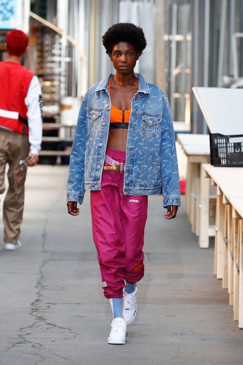 Street fashion, Clothing, Fashion, Pink, Denim, Red, Jeans, Snapshot, Human, Textile,