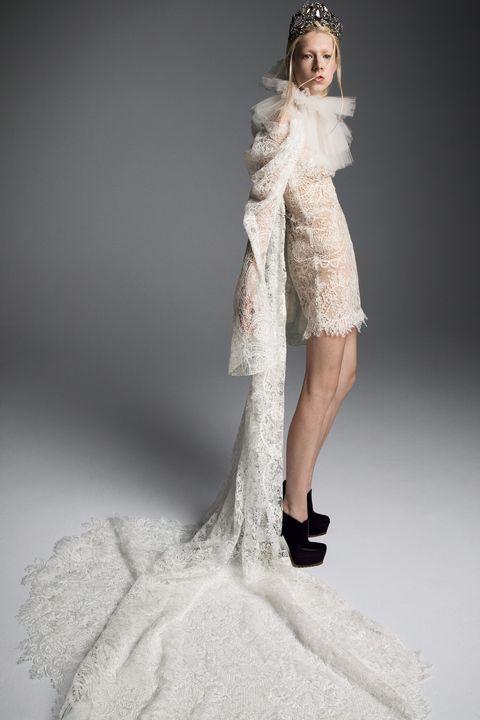 short wedding dress - Fashion model, Clothing, Dress, Wedding dress, White, Gown, Fashion, Shoulder, Haute couture, Bridal clothing,