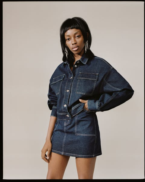 Denim, Clothing, Jeans, Fashion, Beauty, Textile, Outerwear, Fashion model, Sleeve, Standing,
