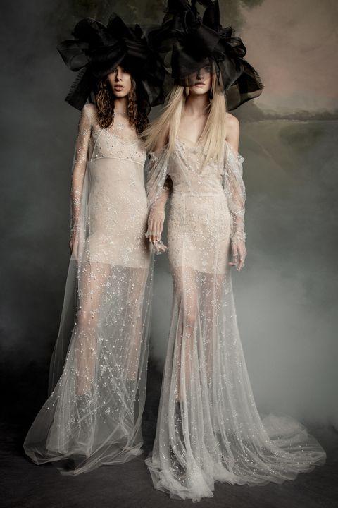 Gown, Clothing, Wedding dress, Fashion model, Dress, Fashion, Haute couture, Bridal clothing, Shoulder, Bridal party dress,