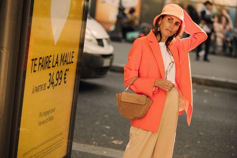 Orange, Street fashion, Yellow, Red, Outerwear, Fashion, Snapshot, Street, Jacket, Road,