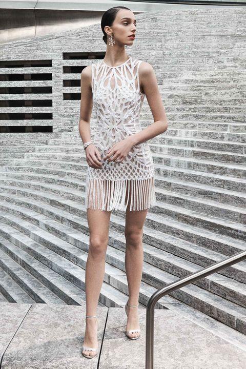 short wedding dress -White, Clothing, Fashion model, Shoulder, Fashion, Dress, Beauty, Cocktail dress, Street fashion, Leg,