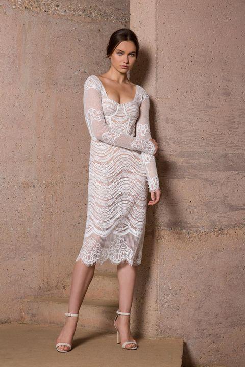 short wedding dress - long sleeves short lace wedding dress