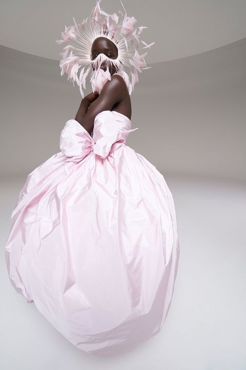 Pink, White, Dress, Headpiece, Gown, Child, Costume, Hair accessory, Bridal accessory, Fashion accessory,