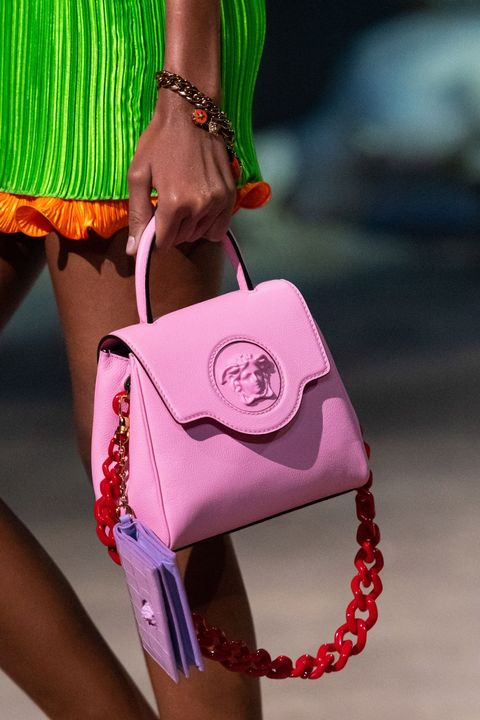versace ss21 pink leather bag with red chain link