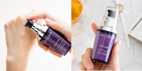 Product, Purple, Beauty, Violet, Skin, Hand, Fluid, Material property, Liquid, Bottle,