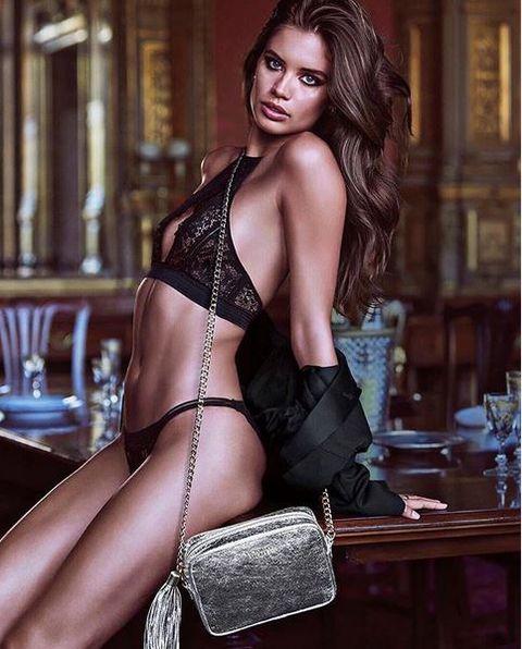 Clothing, Lingerie, Beauty, Undergarment, Model, Agent provocateur, Photo shoot, Muscle, Brown hair, Leg,