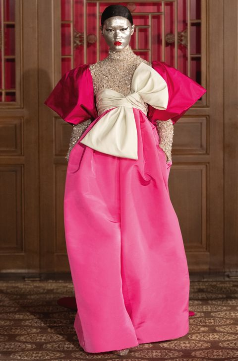 Pink, Clothing, Fashion, Magenta, Haute couture, Dress, Tradition, Costume, Gown, Silk,