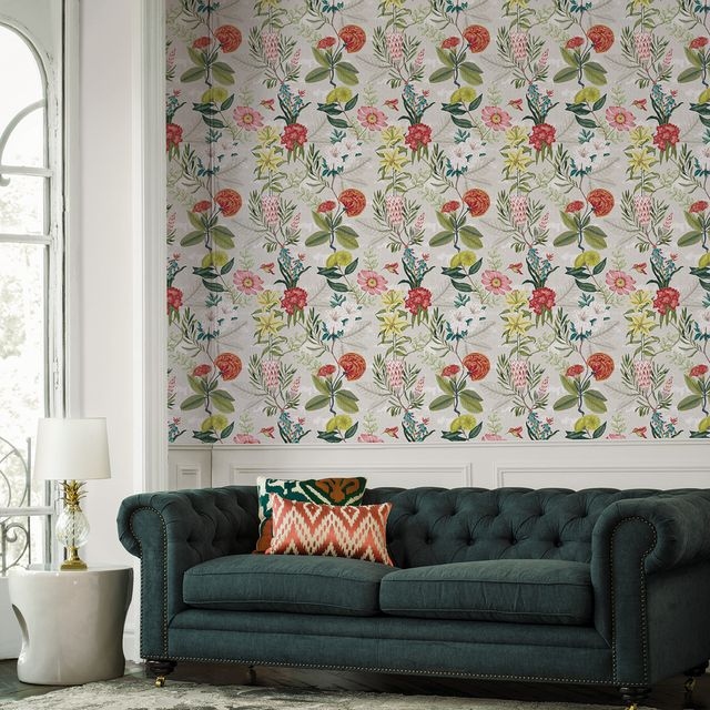 Living room, Green, Wallpaper, Couch, Interior design, Wall, Room, Pattern, Leaf, Curtain,