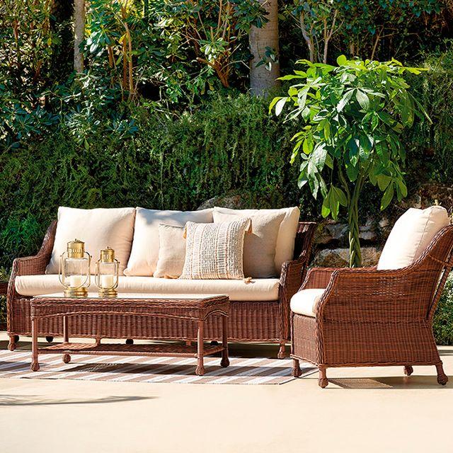 Furniture, Patio, Outdoor furniture, Wicker, Table, Outdoor table, Coffee table, Chair, Tree, Outdoor sofa,