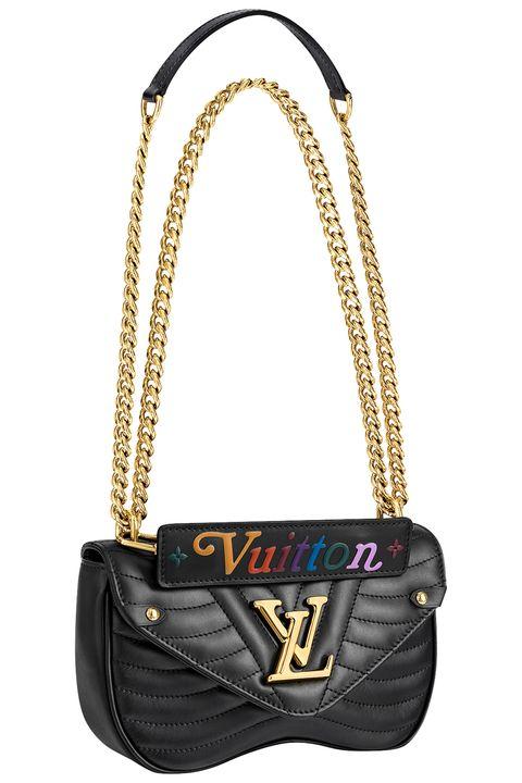 Bag, Handbag, Shoulder bag, Fashion accessory, Yellow, Fashion, Leather, Font, Material property, Chain,