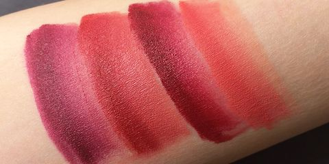 Pink, Lip, Red, Lipstick, Cosmetics, Magenta, Tints and shades, Close-up, Material property, Gloss,