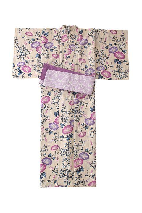 Clothing, Pink, Kimono, Textile, Dress, Costume, Plant, Pattern, Sleeve, Robe,