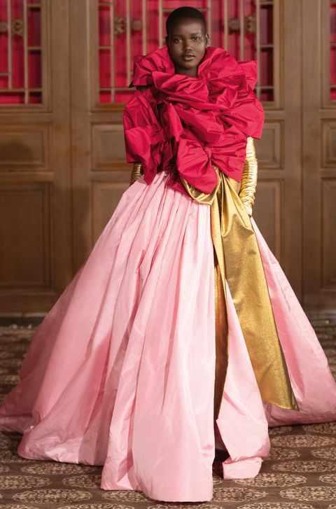 Pink, Clothing, Dress, Gown, Fashion, Outerwear, Costume design, Magenta, Victorian fashion, Peach,