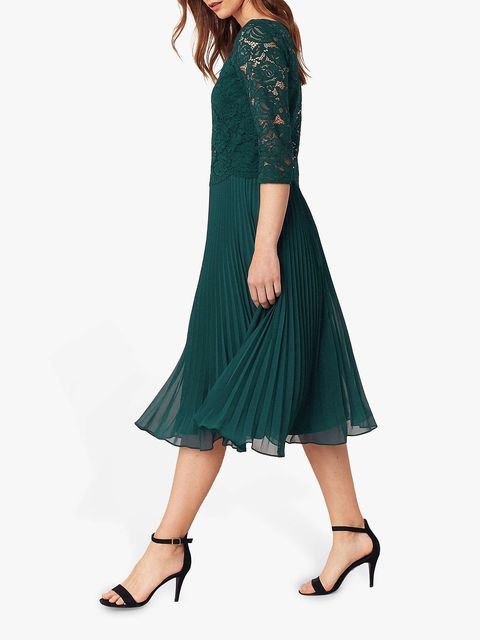 Oasis Lace Top Midi Dress, Teal Green