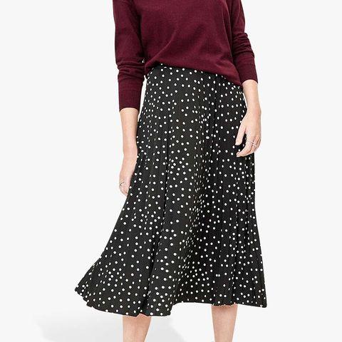 Oasis Polka Dot Pleated Midi Skirt