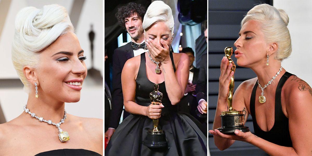 Lady Gaga, Tiffany & Co., 奧斯卡, 奧黛麗赫本, 項鍊,Tiffany, Oscars, 奧斯卡頒獎, 2019奧斯卡, 紅毯, 珠寶, 飾品, 價錢,  Tiffany 項鍊,女神卡卡,一個巨星的誕生