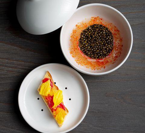 北海道帝王蟹、蕃茄凍、奧賽嘉魚子醬