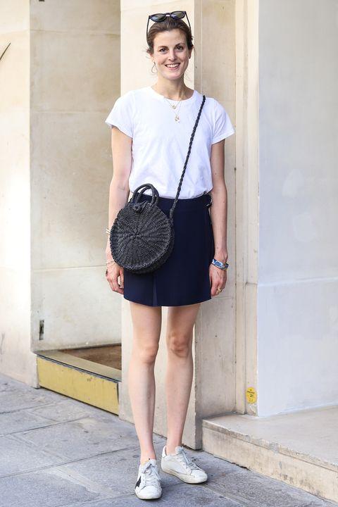 Clothing, White, Black, Street fashion, Blue, Fashion, Shoulder, T-shirt, Footwear, Snapshot,