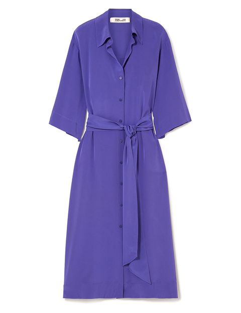 Clothing, Purple, Violet, Robe, Sleeve, Dress, Day dress, Outerwear, Collar, Coat,