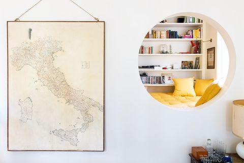 Shelf, White, Wall, Yellow, Shelving, Room, Furniture, Interior design, Textile, Beige,