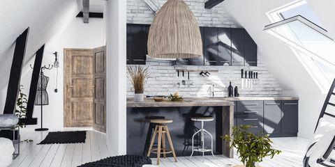 Modern open-plan apartment in attic, loft style