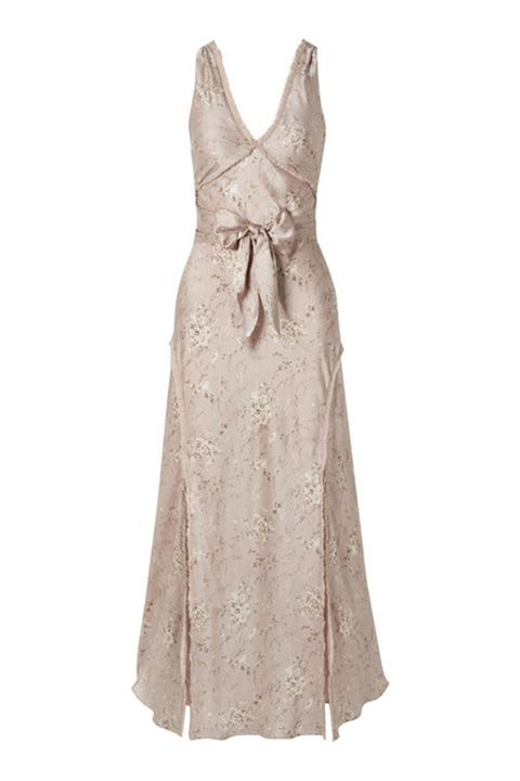 Clothing, Dress, Day dress, Cocktail dress, Beige, Gown, Bridal party dress, One-piece garment, A-line, Neck,