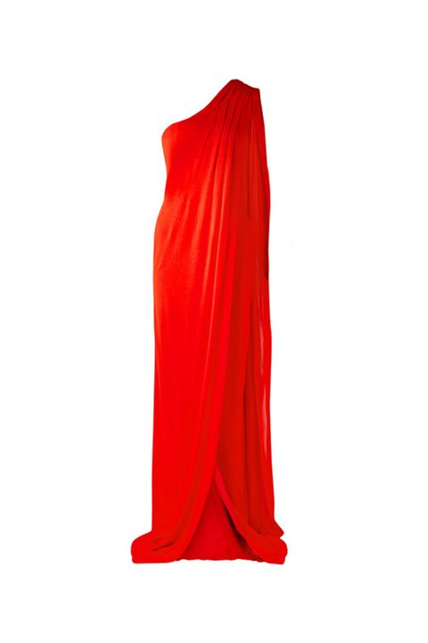 Red, Clothing, Orange, Dress, Yellow, Shoulder, Outerwear, Gown, Satin,