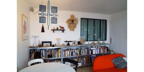 Room, Interior design, Wall, Furniture, Shelving, Interior design, Shelf, Ceiling, Bookcase, Publication,