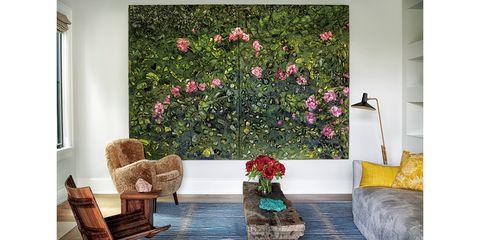 Room, Interior design, Flower, Furniture, Wall, Petal, Interior design, Shrub, Couch, Living room,