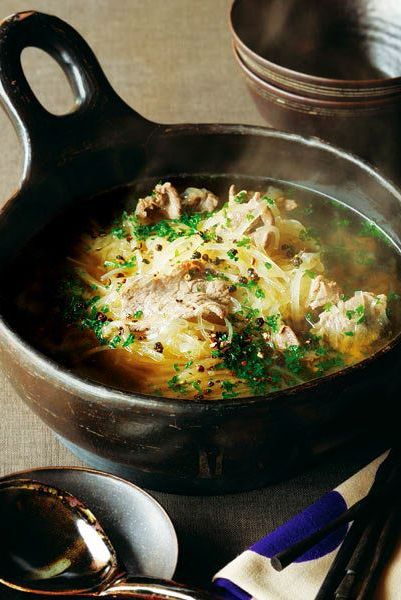 牛しゃぶ肉と千切り大根の鍋