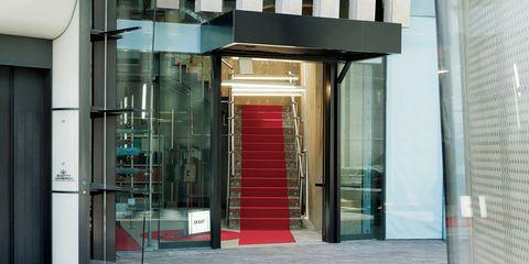 Glass, Fixture, Iron, Transparent material, Composite material, Commercial building, Stairs, Metal, Aluminium, Steel,