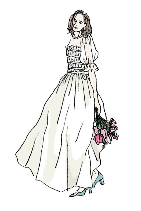 Sleeve, Dress, Shoulder, Standing, White, Style, Formal wear, One-piece garment, Gown, Day dress,