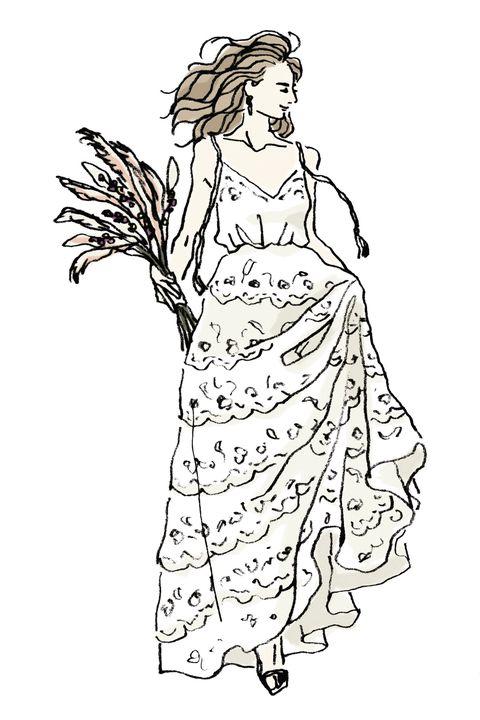 Line art, Dress, Art, One-piece garment, Artwork, Day dress, Costume design, Long hair, Illustration, Drawing,
