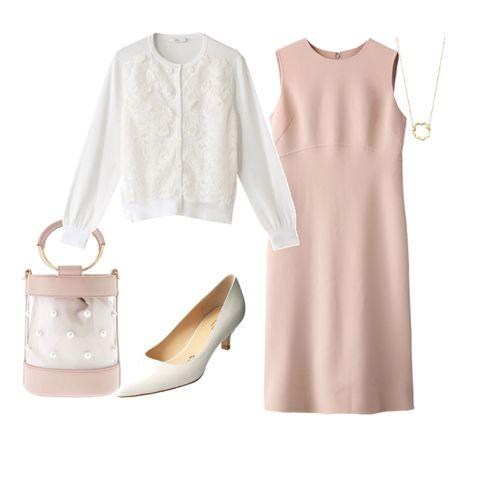 ミルキーピンクのドレスで上品清楚な令嬢コーデ