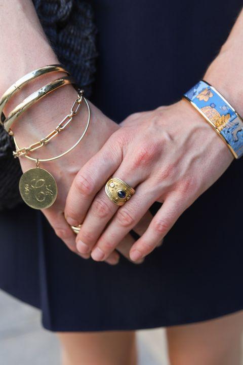 Nail, Street fashion, Yellow, Fashion accessory, Fashion, Jewellery, Hand, Bracelet, Wrist, Arm,