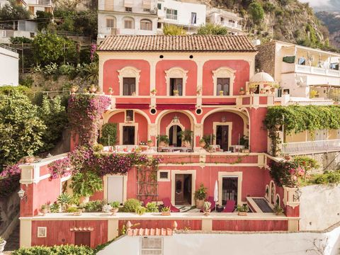 Property, Pink, House, Building, Home, Real estate, Architecture, Residential area, Facade, Mansion,
