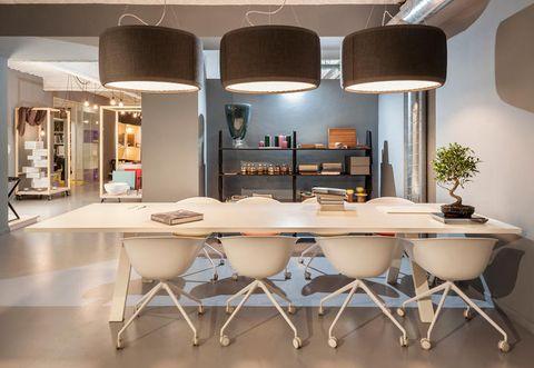 Interior design, Room, Floor, Table, Furniture, Wall, Ceiling, Interior design, Light fixture, Lampshade,