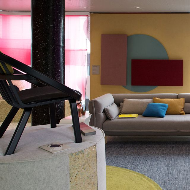 Living room, Room, Furniture, Interior design, Property, Couch, House, Pink, Building, Architecture,