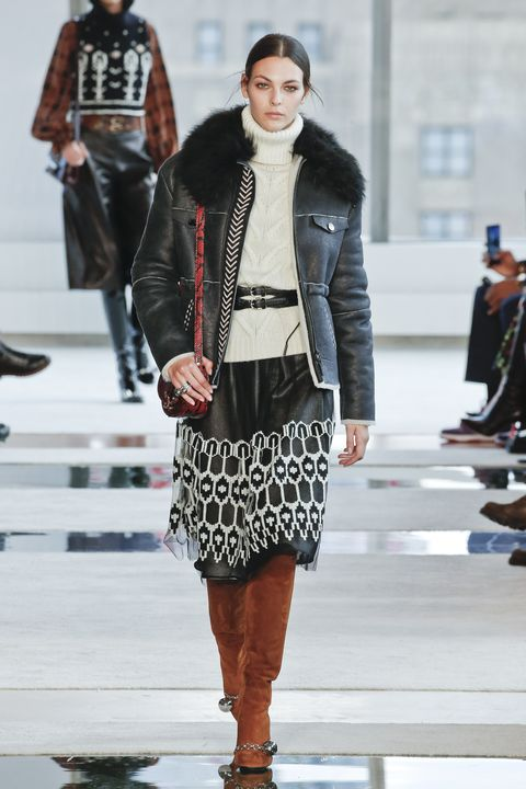 Fashion, Fashion show, Runway, Fashion model, Clothing, Leather, Street fashion, Jacket, Leather jacket, Footwear,