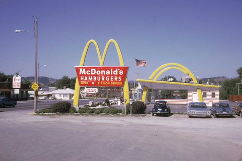 """loremthe true meaning of the iconic """"golden arches"""" can be seen at the """"speedee"""" mcdonald's in downey, california in this august 1970 photo it's been designated as a national landmark and was the third establishment built by the original mcdonald's brothers"""