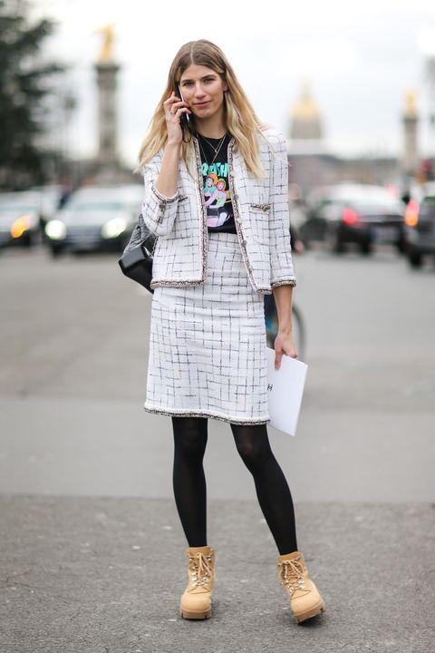 Clothing, White, Street fashion, Photograph, Fashion, Footwear, Snapshot, Outerwear, Knee, Coat,