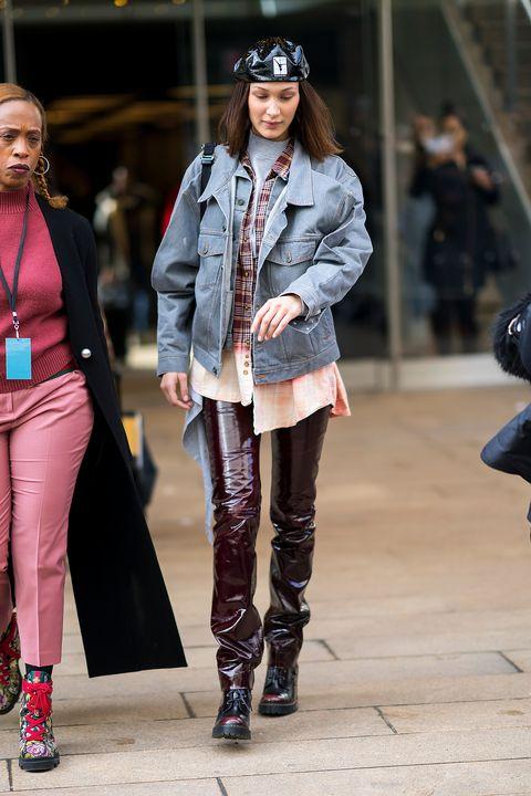 丹寧外套, 牛仔外套, 穿搭, 名人街拍, Bella Hadid
